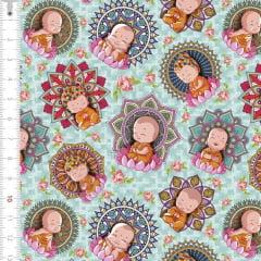 Tecido Tricoline Estampado  Digital  Bebê Buda 9100e1612