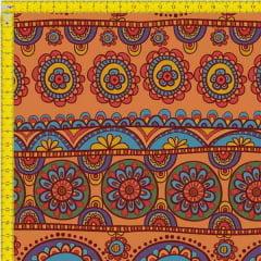 Tecido Tricoline Estampado Digital Arabesco Africano 9100e743