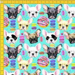 Tecido Tricoline Estampado Digital Cachorro E Biscoito 9030E011