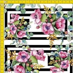 Tecido Tricoline Estampado Digital  Floral Geométrico 9100e914