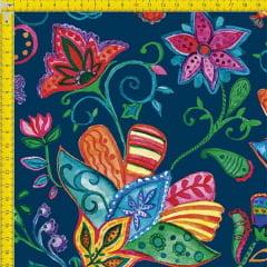 Tecido Tricoline Estampado Digital Floral Colorido 9100e751