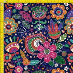 Tecido Tricoline Estampado Digital Flores e Arabesco 9100e968