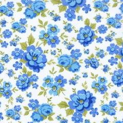 Tecido Tricoline Mista Floral Azul Fundo Branco 15892c2