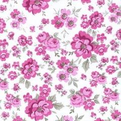 Tecido Tricoline Mista Floral Rosa Fundo Branco 15893c3