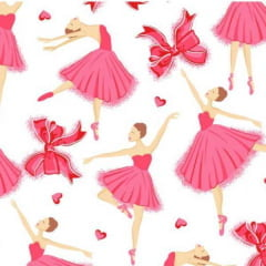 Tecido Tricoline Mista Bailarinas Rosa Fundo Claro 12205C1