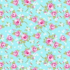 Tecido Tricoline Mista Floral Rosa Fundo Verde Tiffany 14398c1
