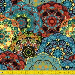Tecido Tricoline Digital Estampado Floral Mandalas 9100E1035