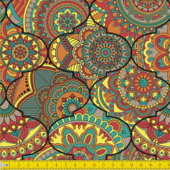 Tecido Tricoline Estampado Digital Mandala Arabesco 9100E1038