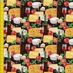 Tecido Tricoline Digital Estampado  Queijos e Vinhos 9100e1356
