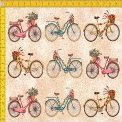 Tecido Tricoline Estampado Digital Bicicletas 9100E456