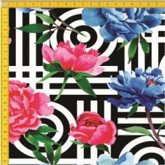 Tecido Tricoline Estampado Digital Floral 9100E409