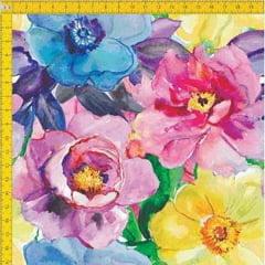 Tecido Tricoline Estampado Digital Floral Rosa Azul e Amarelo 9100E030
