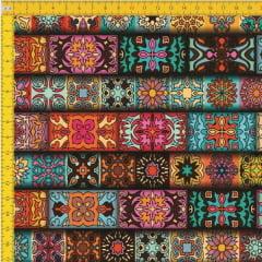 Tecido Tricoline Estampado Digital Étnico 9100e406
