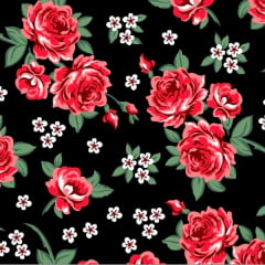 Tecido Tricoline Estampado Floral Vermelho e Branco Fundo Preto 2640v2