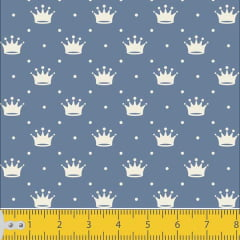 Tecido Tricoline Estampado Mini Corôa Azul 1143v131