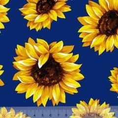 Tricoline Estampado Floral Girassol Fundo Azul Escuro 6410-3