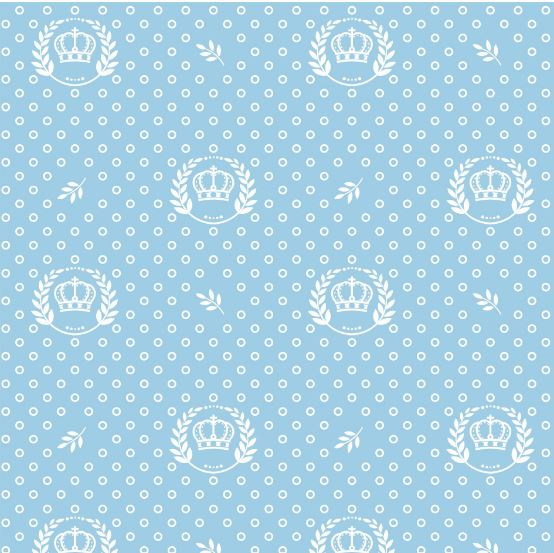 Tecido Tricoline Estampado Corôa Azul Bebê 1169vr082