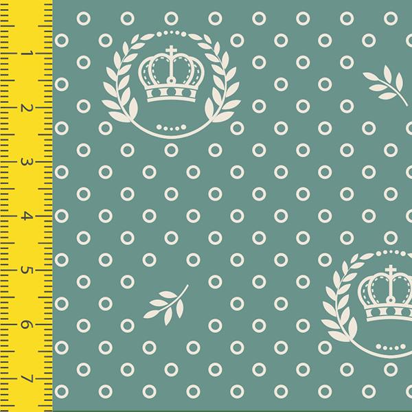 Tecido Tricoline Estampado Corôa Verde 1169v129