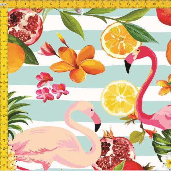Tecido Tricoline Estampado Digital  Flamingos E Frutas 9030E027