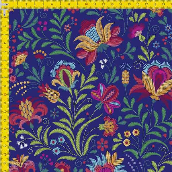 Tecido Tricoline Estampado Digital Floral Estilo Bordado 9100e734