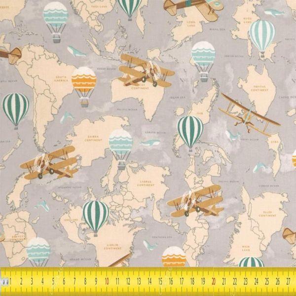 Tecido Tricoline Estampado Mapa Mundi 5502a