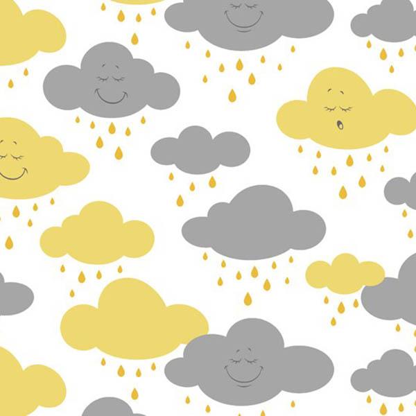Tricoline Estampado Nuvem Amarelo com Cinza 180597vr06